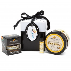Bee By The Sea Small Gift Box with Body Cream, Face Cream and Spearmint Lip Balm