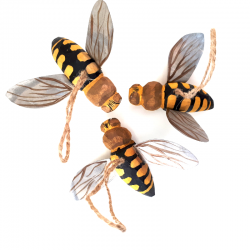 Carved Wood Bee Ornament